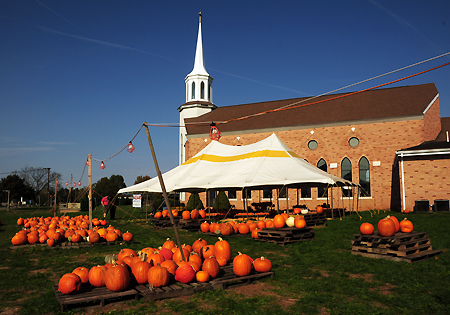 Pumpkins at church, low res
